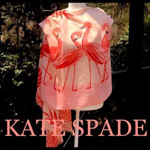 KATE SPADE Flamingo oblong scarf in aprico…